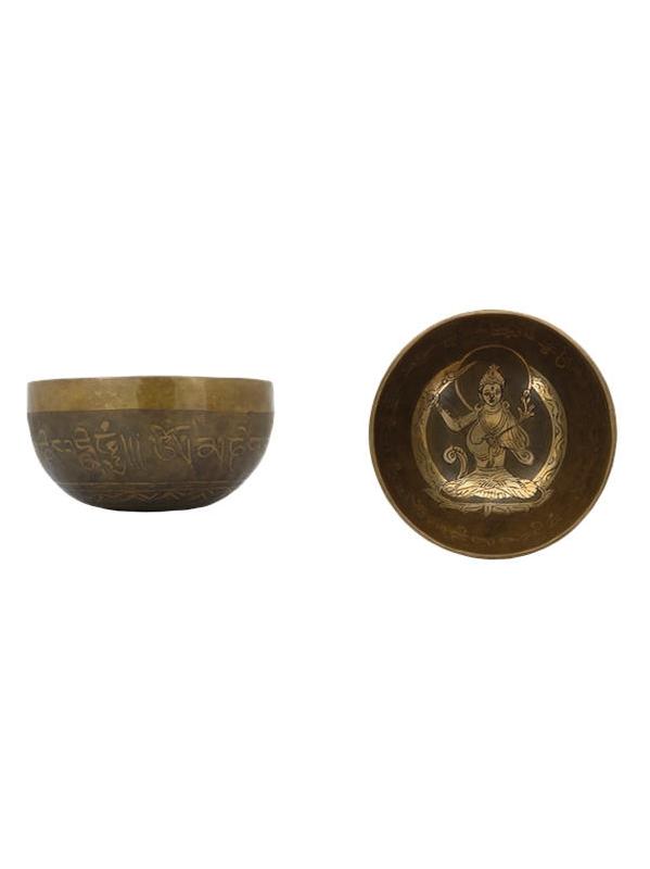 70463.3.Coffret Bol chantant Traditionnel Gravure Tara Diamètre env. 12 cm