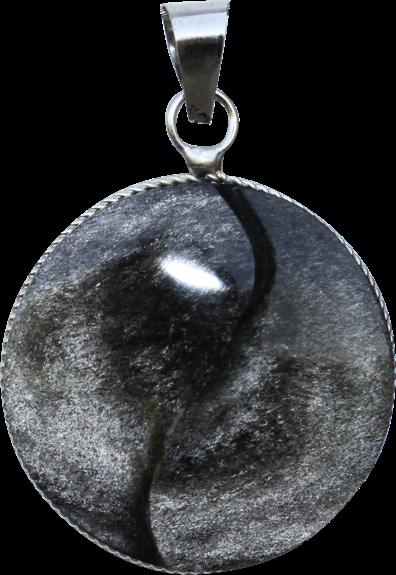 Pendentif Yin Yang Obsidienne Argentée - Modèle Rond