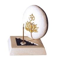 Porte Encens Om et Fleur de Lotus en Pierre Blanche