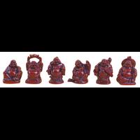 Lot de 6 Bouddhas -  Résine rouge
