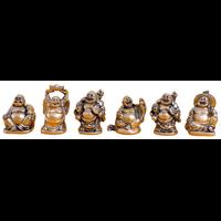 Lot de 6 Bouddhas Résine Dorée - 5 cm