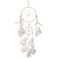 Dreamcatcher 2 Cercles - Blanc Avec Coquillages