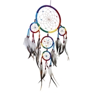 Dreamcatcher 5 Cercles - Arc en Ciel Avec Pierres
