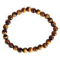 Bracelet Perles Rondes Oeil de Tigre - 6mm - Lot de 3
