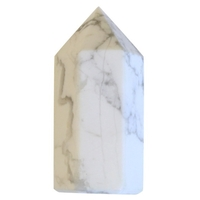 Pointe Polie Hexagonale Howlite Blanche - 3,5 cm - Lot de 3