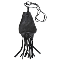 Medicine Bag Noir en Cuir - Sac Améridien - PM