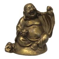 Bouddha Métal Assis sur Sac de Richesse - Amour