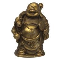 Bouddha Métal avec une Gourde et un Baluchon - Bonheur
