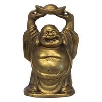Bouddha Métal avec un Lingot au-dessus de sa Tête - Fortune