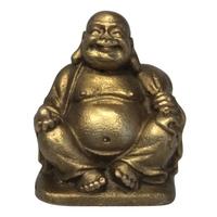 Bouddha Métal Assis avec une Pêche dans sa Main Droite - Santé