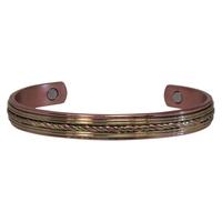 Bracelet Magnétique Cuivre Avec Décoration Laiton - Modèle 3