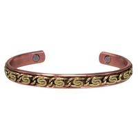 Bracelet Magnétique Cuivre Avec Décoration Laiton - Modèle 1