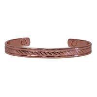 Bracelet Magnétique Cuivre - Modèle 3 Strié Plat
