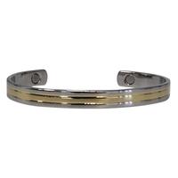 Bracelet Magnétique Plat Métal Argenté et Doré