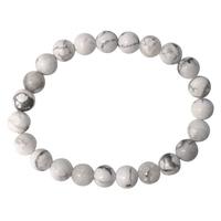 Bracelet Perles Rondes Howlite Blanche - 8 mm (Lot de 3)