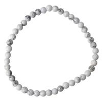 Bracelet Perles Rondes Howlite Blanche - 4 mm (Lot de 3)