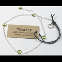 Bracelet en Argent Avec Pierres de Péridot de 4 mm