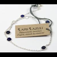 Bracelet en Argent Avec Pierres de Lapis Lazuli de 4 mm