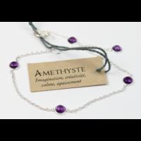 Bracelet en Argent Avec Pierres d'Améthyste de 4 mm