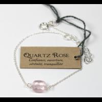 Bracelet en Argent Coussin de Quartz Rose