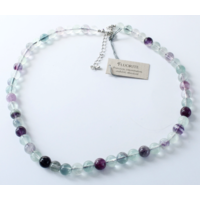 Collier Fluorite Perles Rondes 6 mm