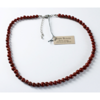 Collier Jaspe Rouge Perles Rondes 6 mm