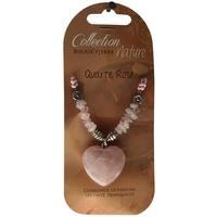 Collier Pendentif Coeur et Perles Baroques - Quartz Rose - Lot de 6