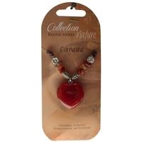 Collier Pendentif Coeur et Perles Baroques - Cornaline Chauffée - Lot de 6