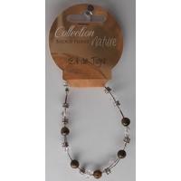 Bracelet Perles 6mm sur Fil Métallique - Oeil de Tigre - Lot de 6