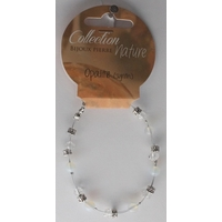 Bracelet Perles 6mm sur Fil Métallique - Opalite - Lot  de 6