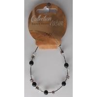 Bracelet Perles 6mm sur Fil Métallique - Onyx - Lot de 6