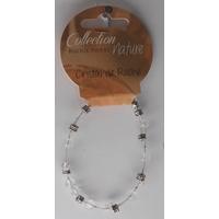 Bracelet Perles 6mm sur Fil Métallique - Cristal de Roche - Lot de 6