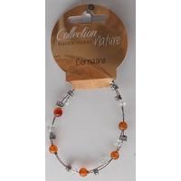Bracelet Perles 6mm sur Fil Métallique - Cornaline - Lot de 6