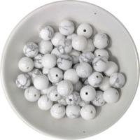 Perles Howlite Blanche 8 mm - Sachet de 50 Perles