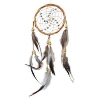 Dreamcatcher Naturel Bois de Saule et Perles Turquoises 11,5 cm