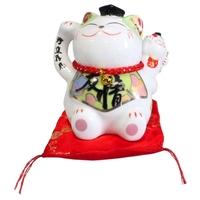 Chat Maneki Neko Amitié Tirelire Céramique  - 10,5 cm