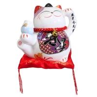Chat Maneki Neko Longevité Tirelire Céramique - 10,5 cm