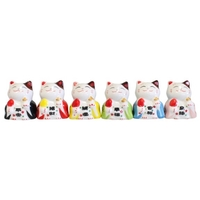 Lot de 6 Chats Maneki Neko en Porcelaine 5 cm