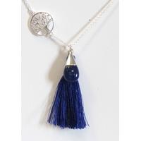 Collier Argent Lapis Lazuli Arbre de Vie Pompon