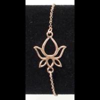 Bracelet Argent Plaqué Or Rose Pétale Fleur de Lotus