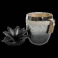 Bougie Verre Simple Coloris Noir - Senteur Sauge Blanche