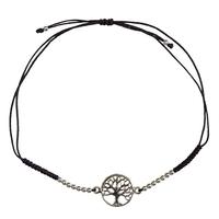 Bracelet Arbre de Vie Argent Avec Cordon Ajustable en Coton Noir