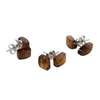Boucles d'Oreilles Ambre Brun - Lot de 3 - Forme Aléatoire