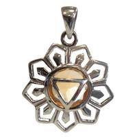 Médaille Chakra Manipura Argent 925 avec Citrine Naturelle