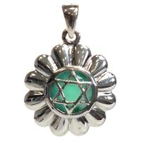 Médaille Chakra Anahata Argent 925 avec Onyx Vert Naturel