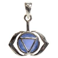 Médaille Chakra Ajna Argent 925 avec Onyx Bleu Naturel