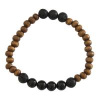Bracelet Homme : Perles de Lave, Bois et Tourmaline