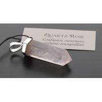 Pendentif Argent Pointe Quartz Rose