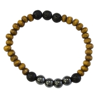 Bracelet Homme : Perles de Lave, Bois et Hématite