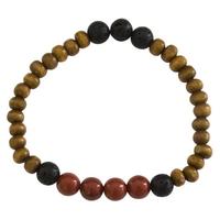 Bracelet Homme : Perles de Lave, Bois et Jaspe Rouge